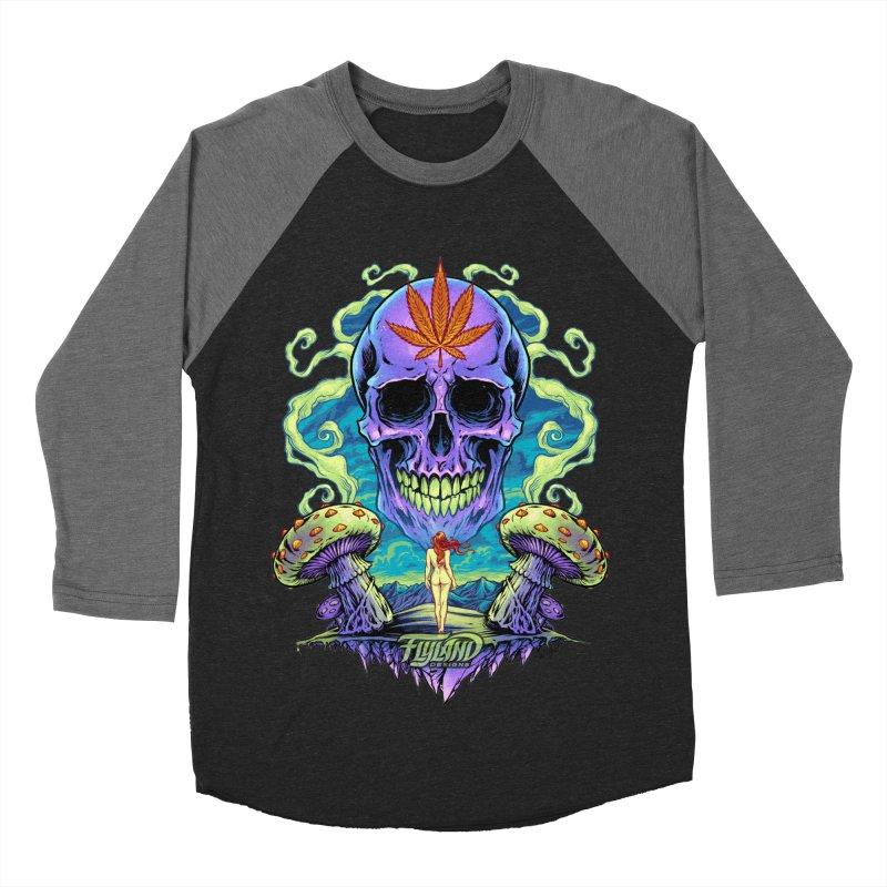 Purple Cannabis Skull with Mushrooms Women's Baseball Triblend T-Shirt by brian allen's Artist Shop
