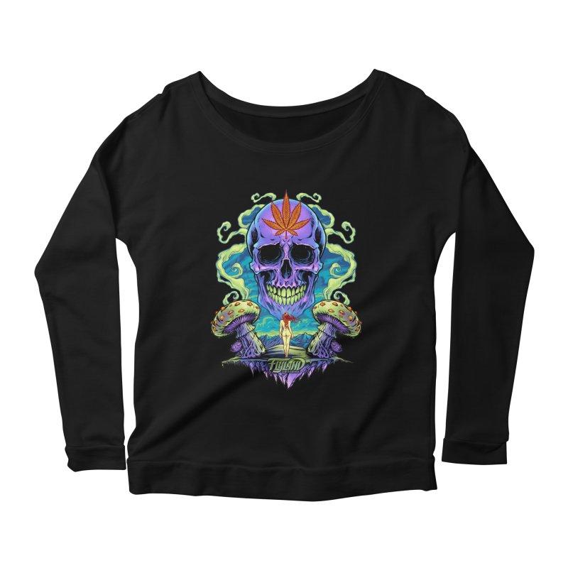 Purple Cannabis Skull with Mushrooms Women's Longsleeve Scoopneck  by brian allen's Artist Shop