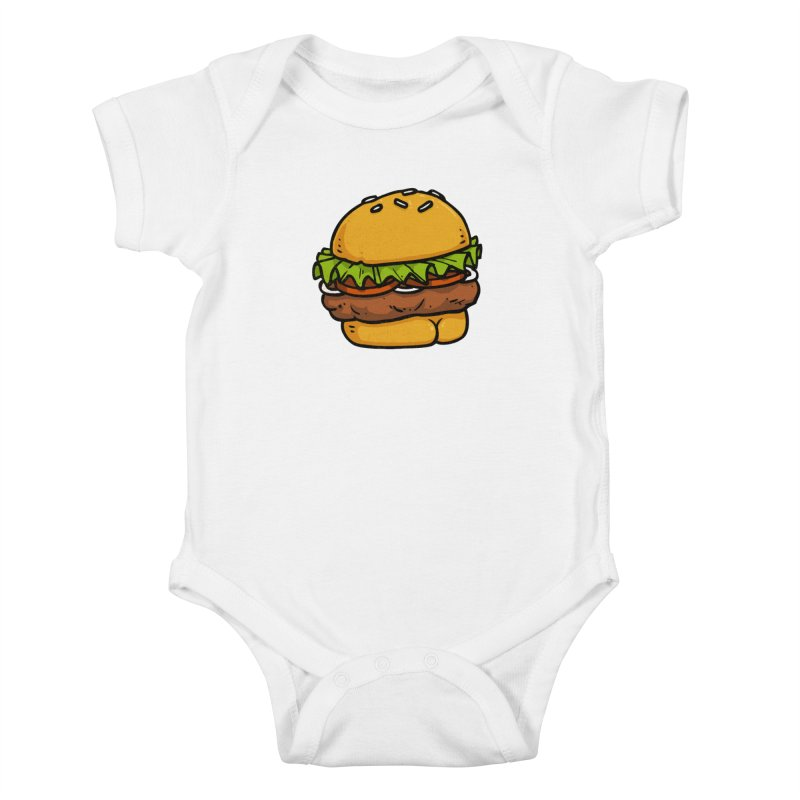 Burger BUTT Kids Baby Bodysuit by Brian Cook