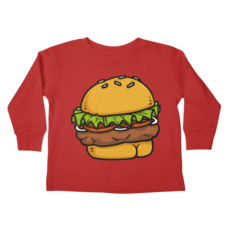 Burger BUTT Kids Toddler Longsleeve T-Shirt by Brian Cook
