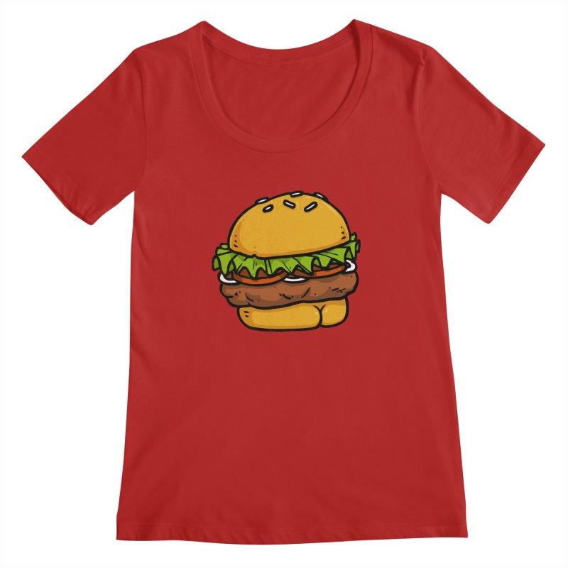 Burger BUTT Women's Scoopneck by Brian Cook