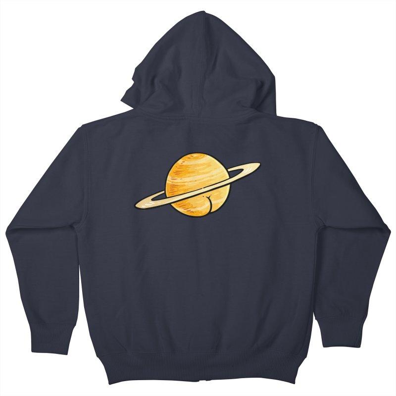 Saturn BUTT Kids Zip-Up Hoody by Brian Cook