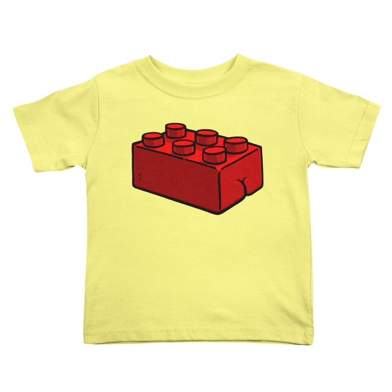 Building Block BUTT Kids Toddler T-Shirt by Brian Cook
