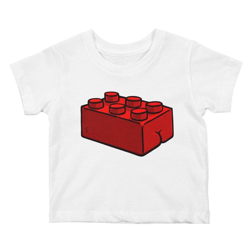 Building Block BUTT Kids Baby T-Shirt by Brian Cook