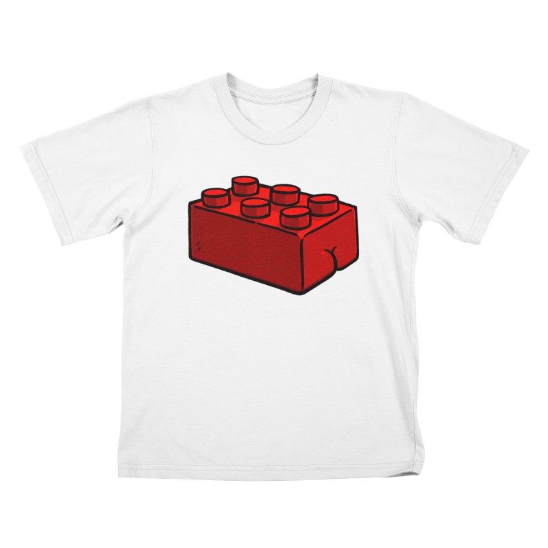 Building Block BUTT Kids T-shirt by Brian Cook