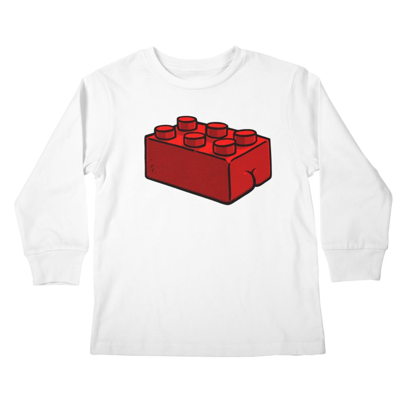 Building Block BUTT Kids Longsleeve T-Shirt by Brian Cook