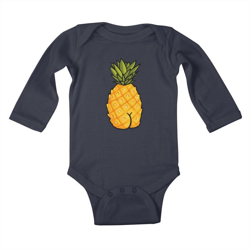 Pineapple BUTT Kids Baby Longsleeve Bodysuit by Brian Cook