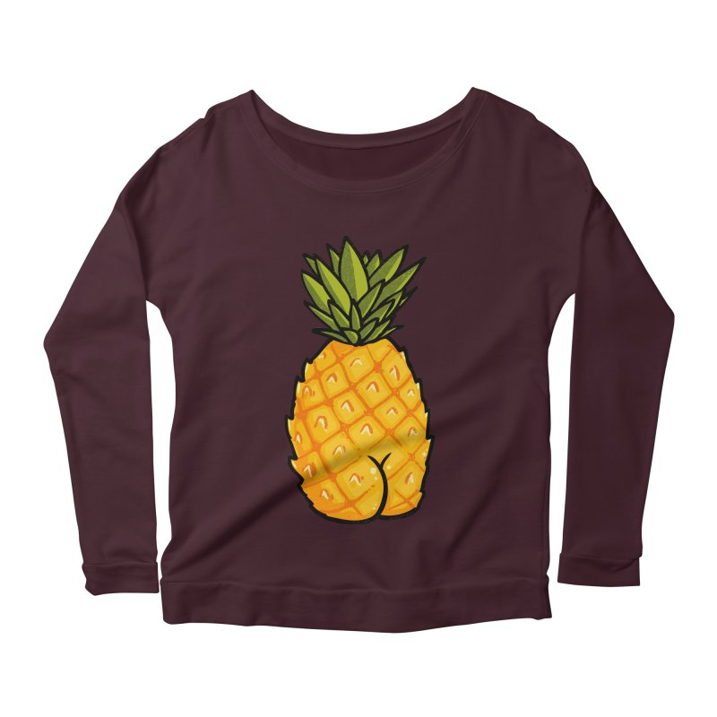 Pineapple BUTT Women's Longsleeve Scoopneck  by Brian Cook