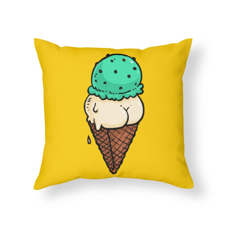 Ice Cream BUTT Home Throw Pillow by Brian Cook