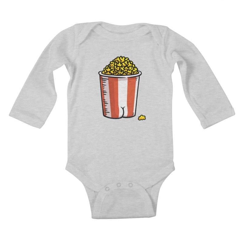 Popcorn BUTT Kids Baby Longsleeve Bodysuit by Brian Cook