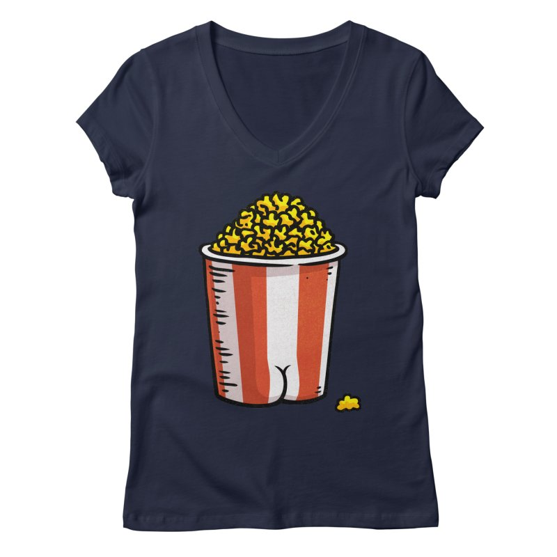 Popcorn BUTT Women's V-Neck by Brian Cook