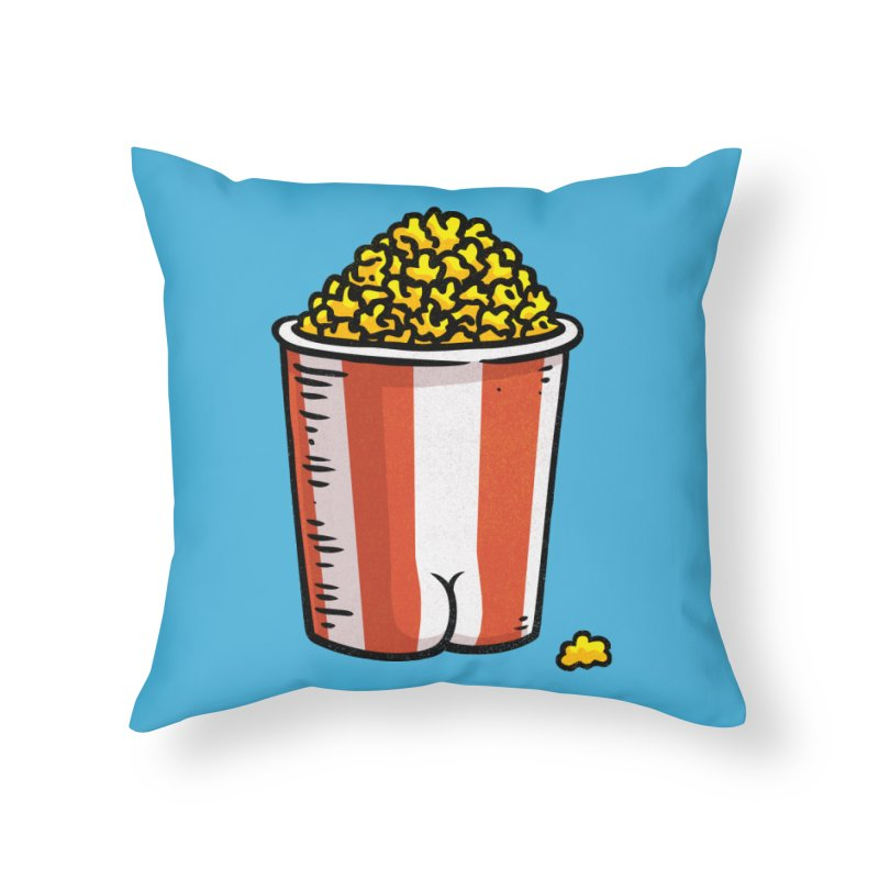 Popcorn BUTT Home Throw Pillow by Brian Cook