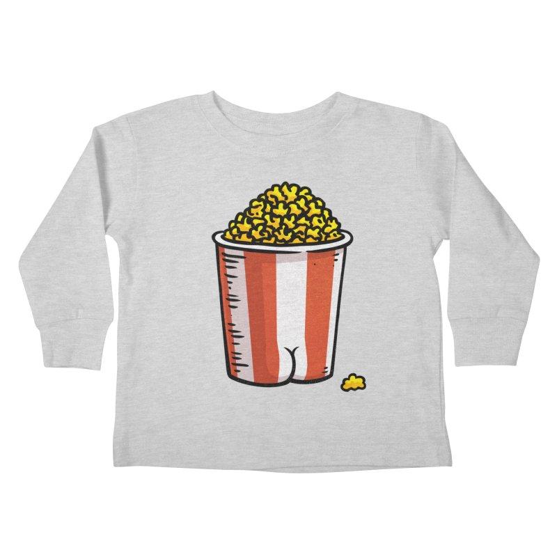 Popcorn BUTT Kids Toddler Longsleeve T-Shirt by Brian Cook
