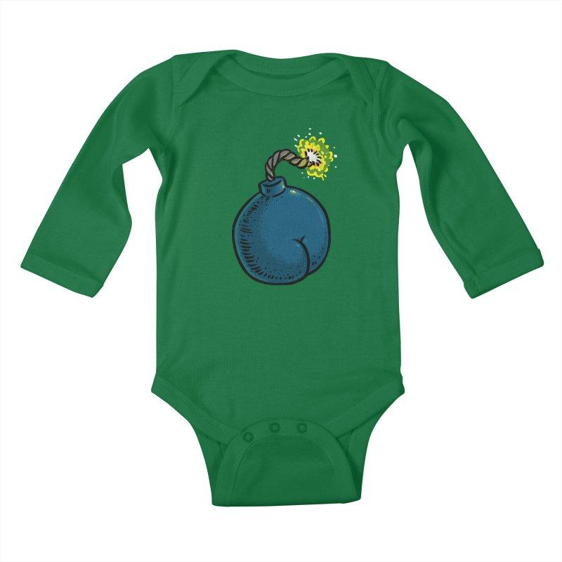 Butt Bomb Kids Baby Longsleeve Bodysuit by Brian Cook