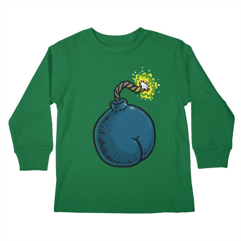 Butt Bomb Kids Longsleeve T-Shirt by Brian Cook