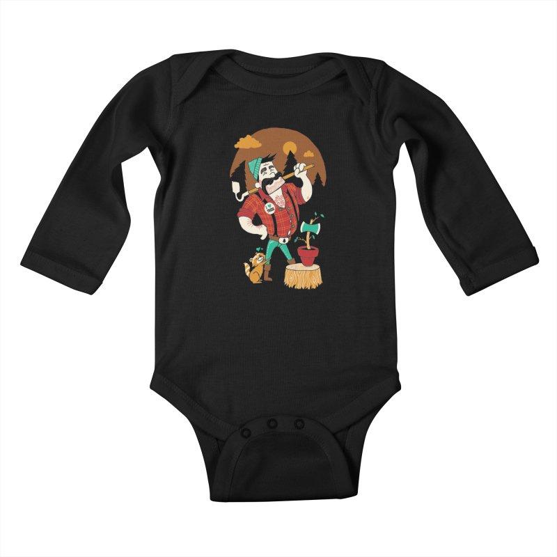 Green Thumberjack Kids Baby Longsleeve Bodysuit by Brian Cook