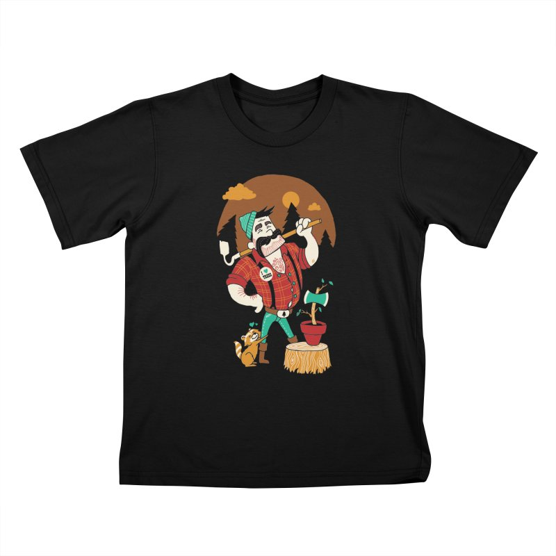Green Thumberjack Kids T-Shirt by Brian Cook