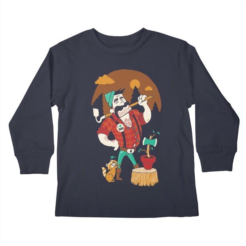 Green Thumberjack Kids Longsleeve T-Shirt by Brian Cook