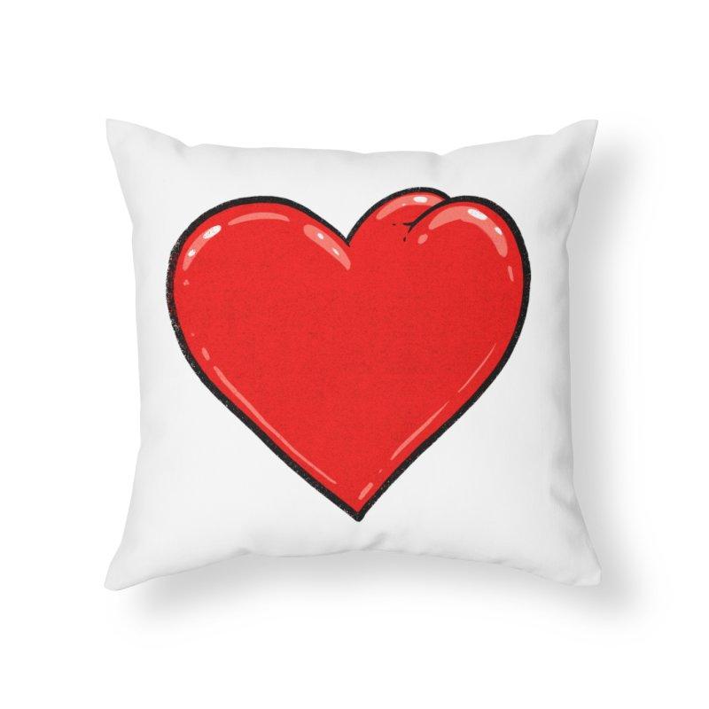 Heart Butt Home Throw Pillow by Brian Cook
