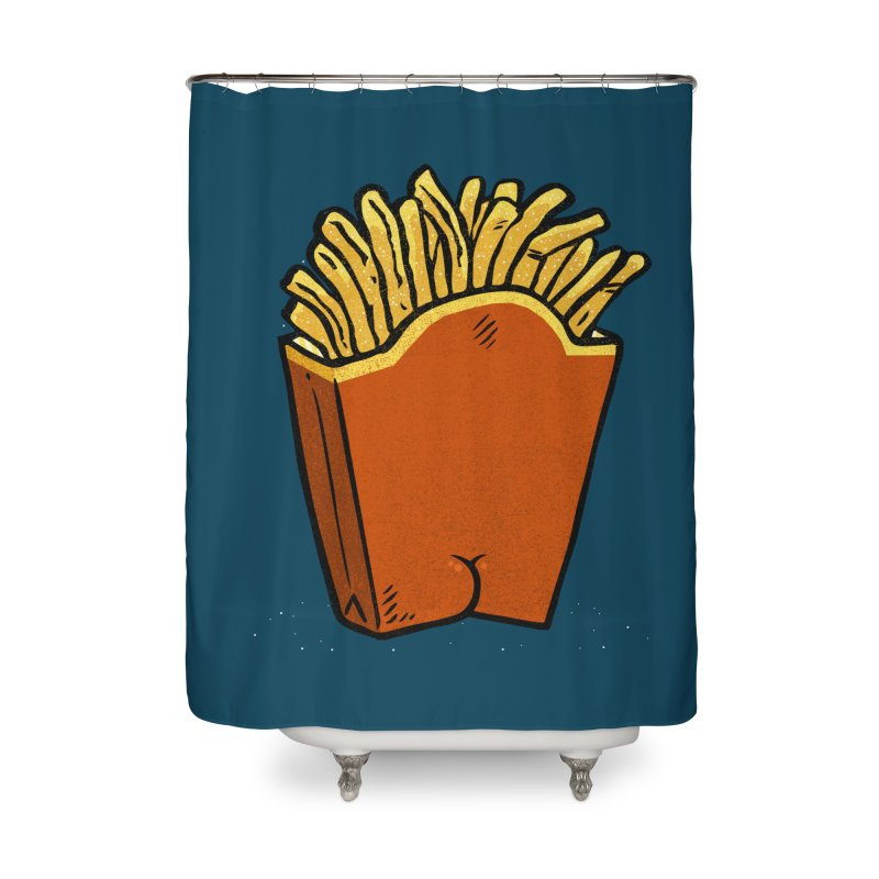 Fries Butt Home Shower Curtain by Brian Cook