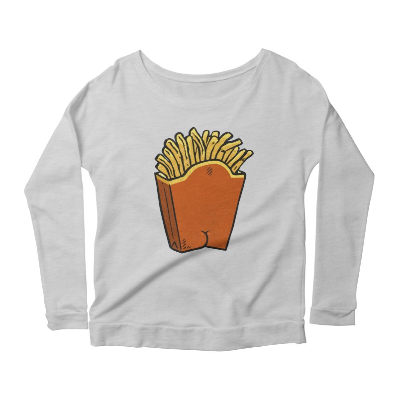 Fries Butt Women's Longsleeve Scoopneck  by Brian Cook