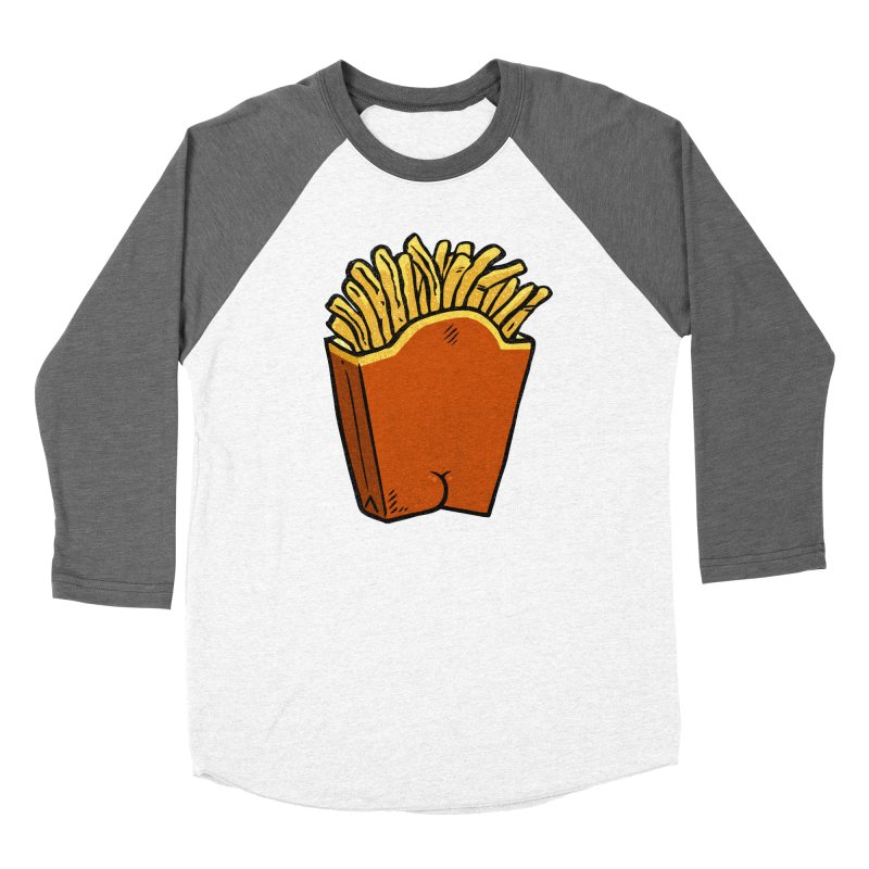 Fries Butt Men's Baseball Triblend T-Shirt by Brian Cook