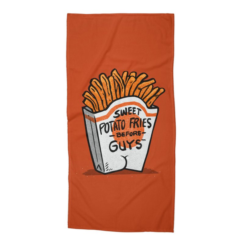 Sweet Potato Fries Before Guys Accessories Beach Towel by Brian Cook