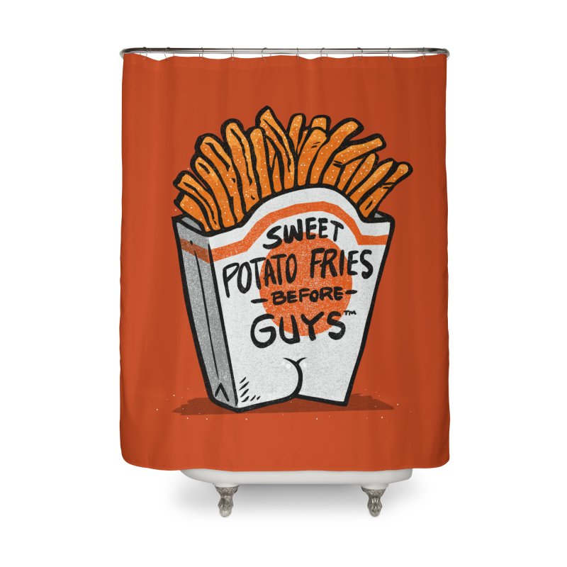 Sweet Potato Fries Before Guys Home Shower Curtain by Brian Cook