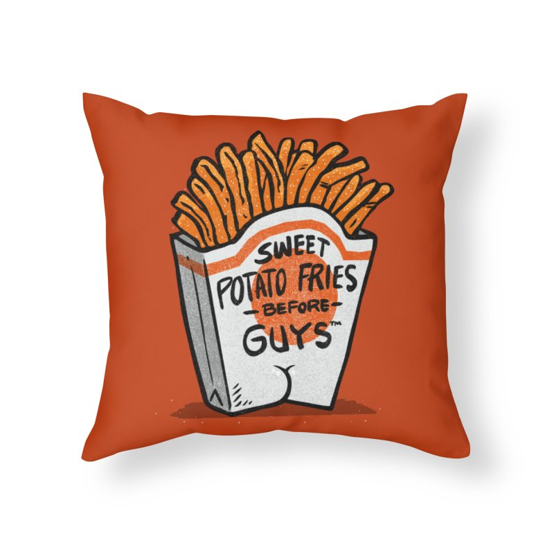 Sweet Potato Fries Before Guys Home Throw Pillow by Brian Cook