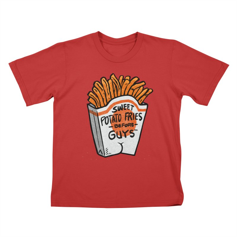 Sweet Potato Fries Before Guys Kids T-Shirt by Brian Cook