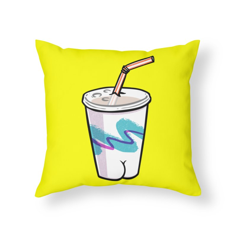 Soda Cup Butt Home Throw Pillow by Brian Cook