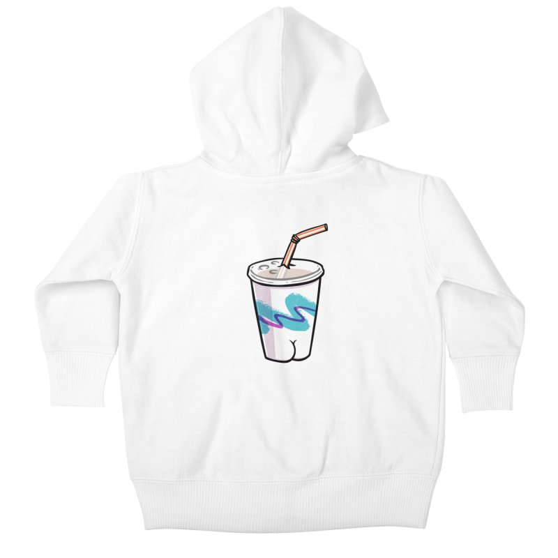 Soda Cup Butt Kids Baby Zip-Up Hoody by Brian Cook