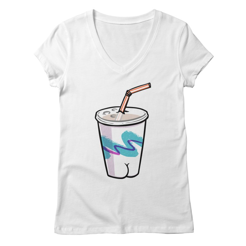 Soda Cup Butt Women's V-Neck by Brian Cook