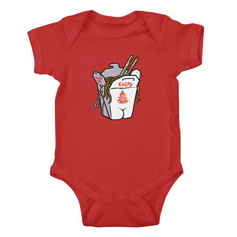 Chinese Take-Out Butt Kids Baby Bodysuit by Brian Cook