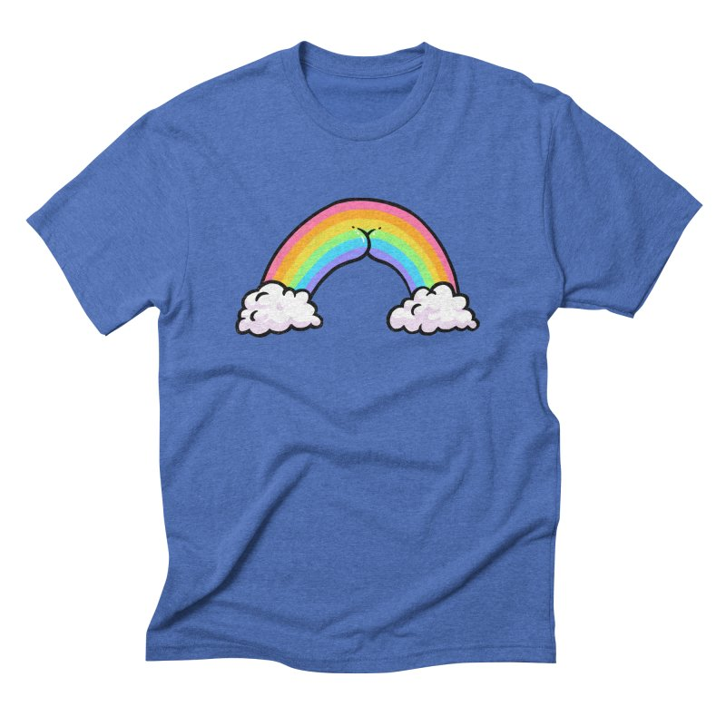 Rainbow Butt in Men's Triblend T-Shirt Blue Triblend by Brian Cook