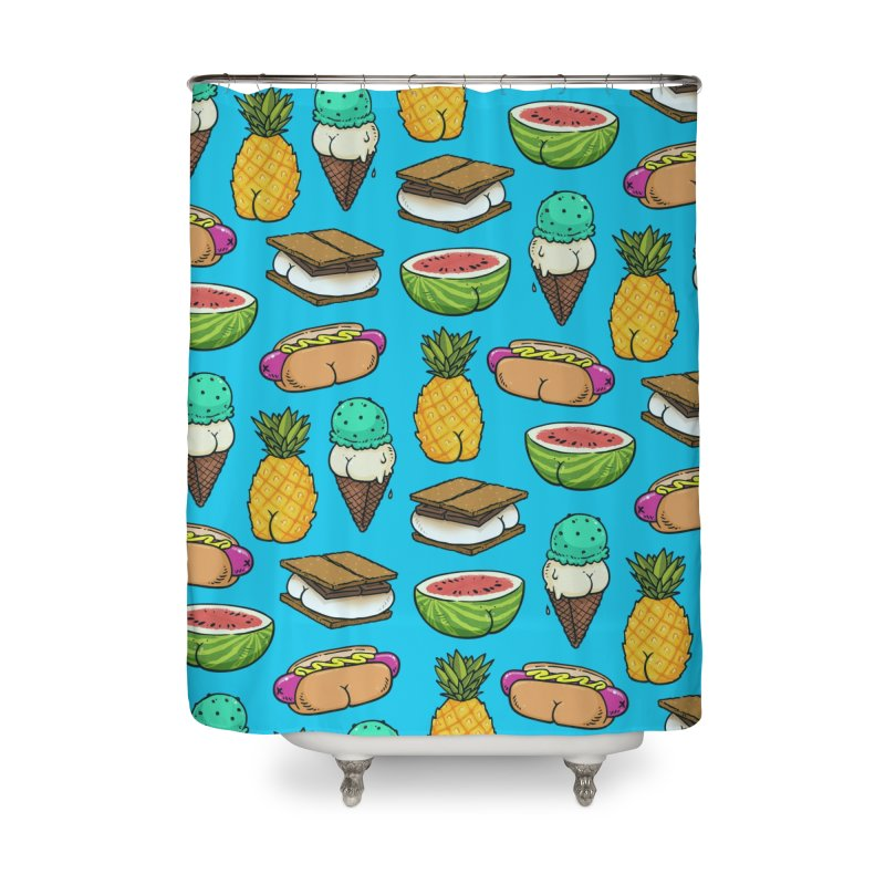 Summer Butts Pattern Home Shower Curtain by Brian Cook