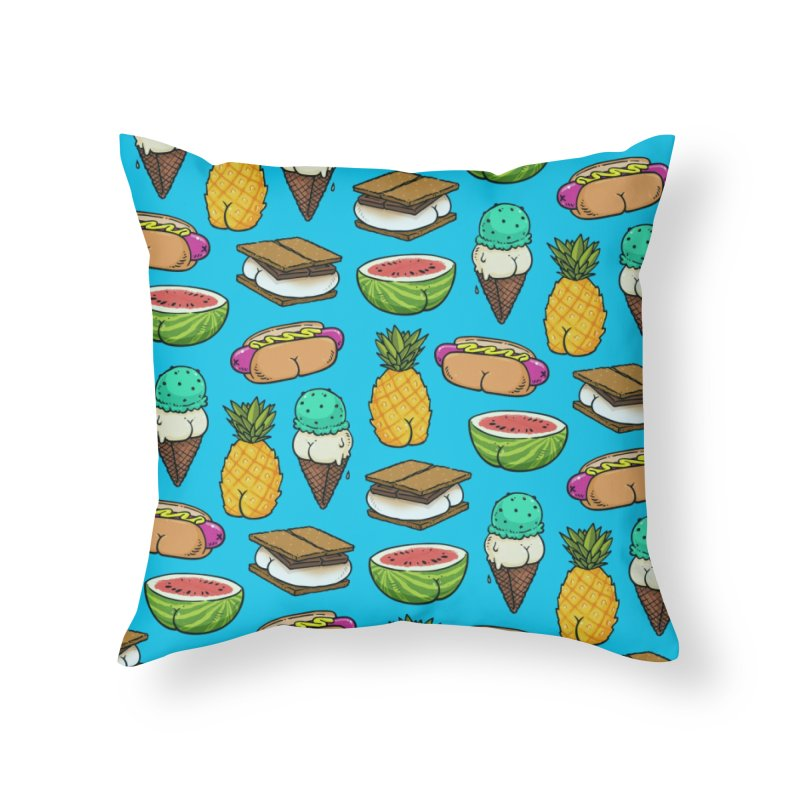 Summer Butts Pattern Home Throw Pillow by Brian Cook