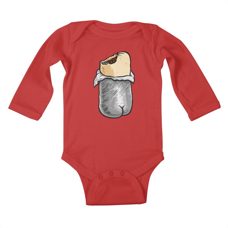 Burrito Butt (Buttrito) Kids Baby Longsleeve Bodysuit by Brian Cook