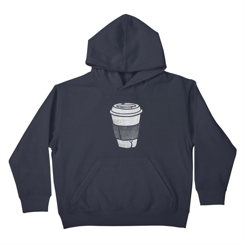 Coffee Butt (Mono Color Edition) Kids Pullover Hoody by Brian Cook