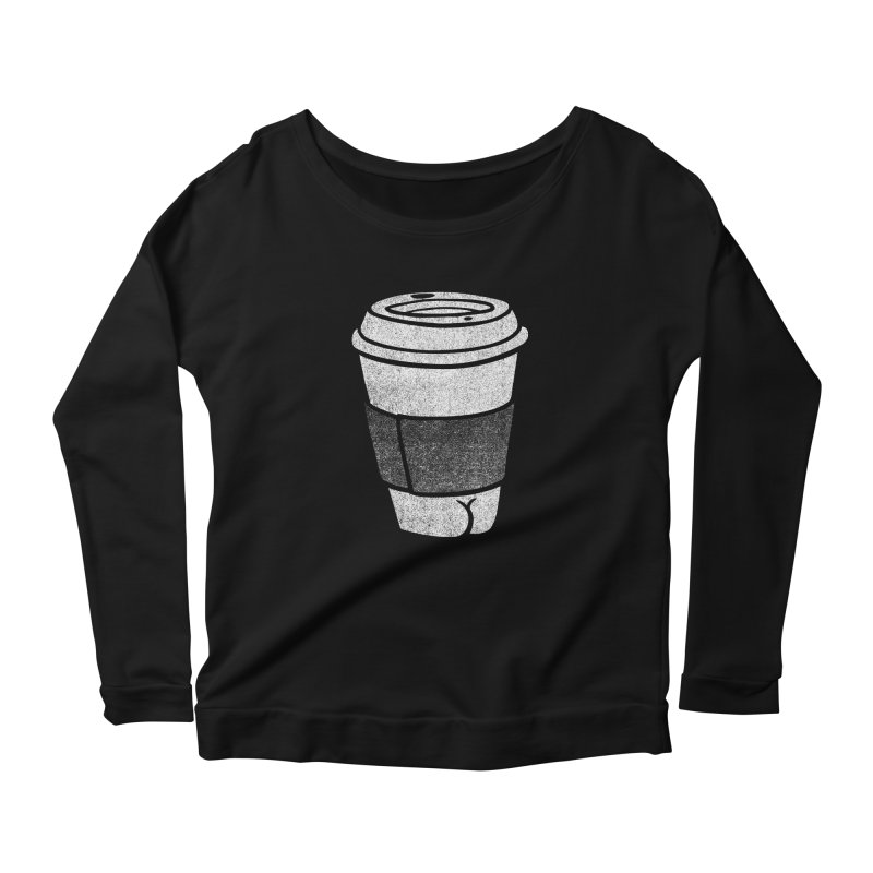 Coffee Butt (Mono Color Edition) Women's Scoop Neck Longsleeve T-Shirt by Brian Cook