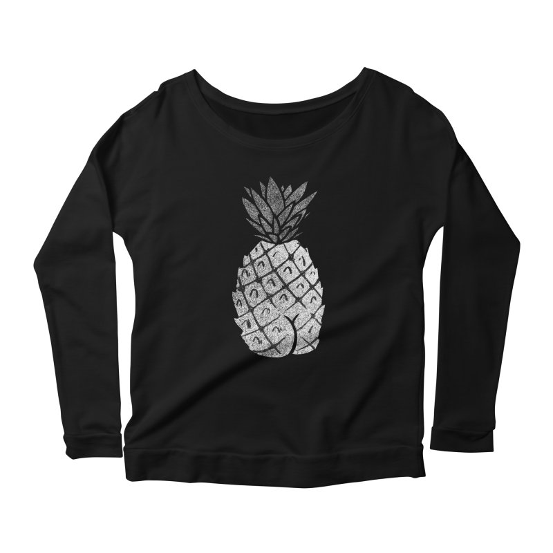 Pineapple Butt (Mono Color Edition) Women's Scoop Neck Longsleeve T-Shirt by Brian Cook