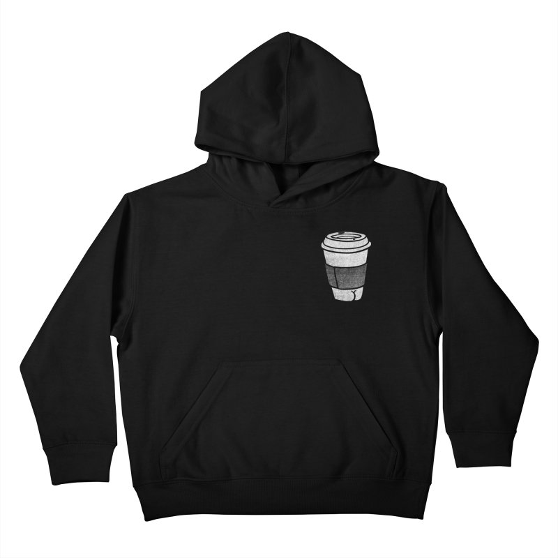 Coffee Butt (Mono Pocket Edition) Kids Pullover Hoody by Brian Cook