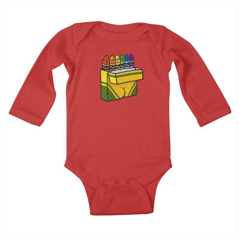 Crayon Butt Kids Baby Longsleeve Bodysuit by Brian Cook