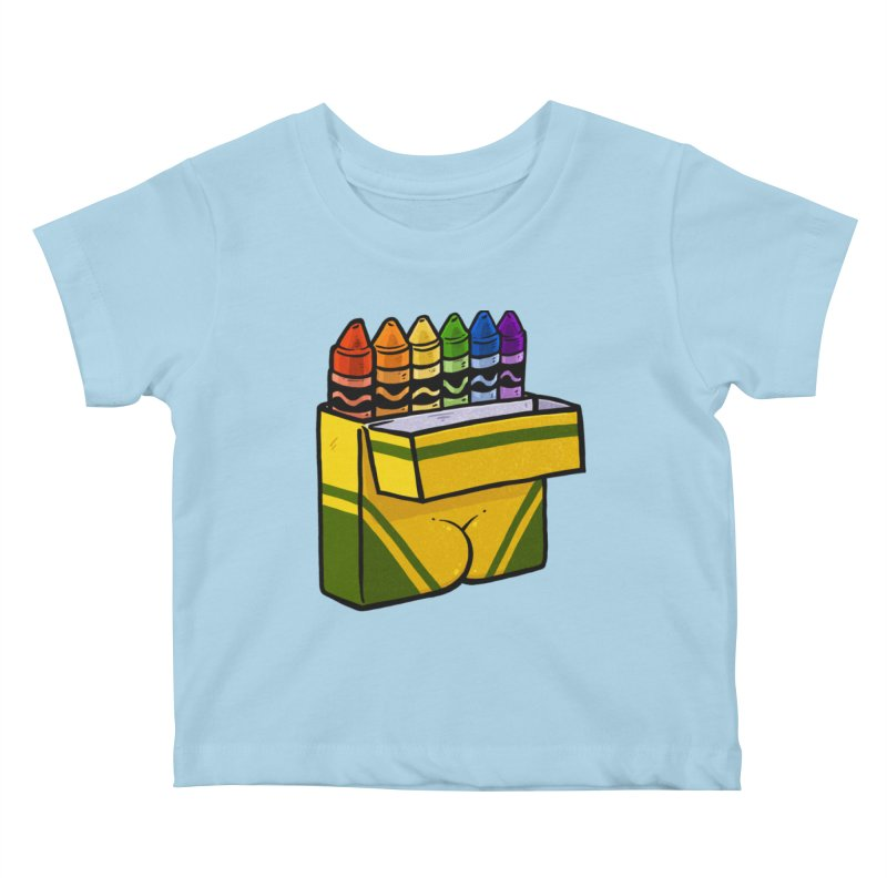 Crayon Butt Kids Baby T-Shirt by Brian Cook