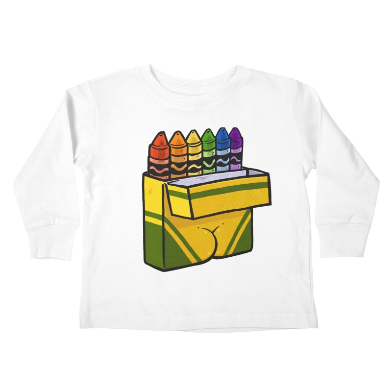 Crayon Butt Kids Toddler Longsleeve T-Shirt by Brian Cook