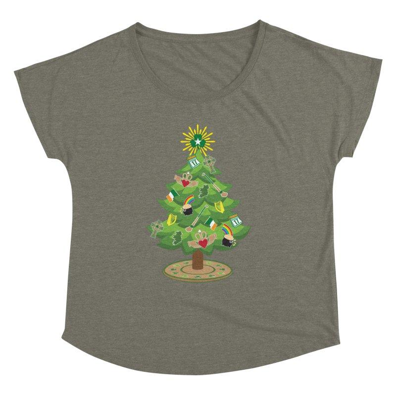 Irish Christmas Tree Women's Dolman Scoop Neck by Brian Harms