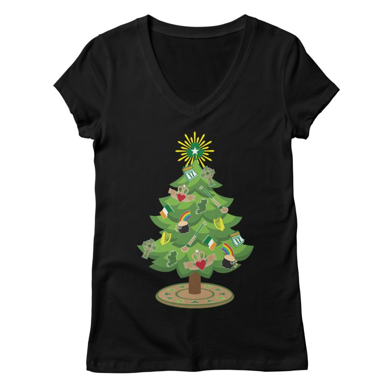 Irish Christmas Tree Women's V-Neck by Brian Harms