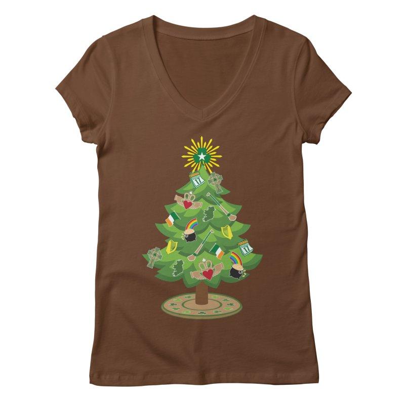 Irish Christmas Tree Women's Regular V-Neck by Brian Harms