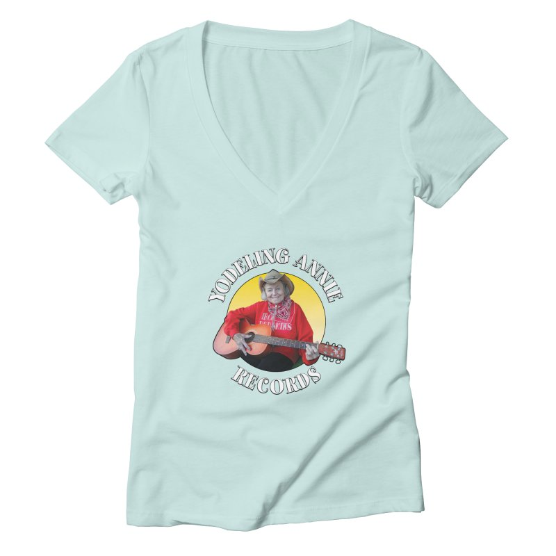 Yodeling Annie Records Women's Deep V-Neck V-Neck by Brian Harms