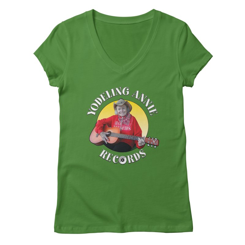Yodeling Annie Records Women's Regular V-Neck by Brian Harms